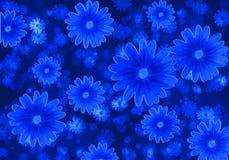 Abstrakcjonistyczny tło z błękitnymi kwiatami Zdjęcia Royalty Free
