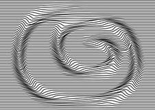 Abstrakcjonistyczny tło z czarnymi równoległymi horyzontalnymi liniami, okulistyczny zawijasa ruch pasiasta tekstura wektor royalty ilustracja
