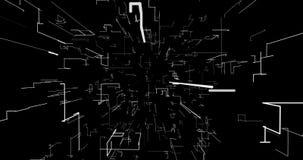 Abstrakcjonistyczny tło z geometrycznym wzorem, futurystyczny perspektywiczny czarny i biały siwieje royalty ilustracja