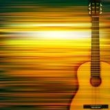 Abstrakcjonistyczny tło z gitarą akustyczną Obraz Royalty Free