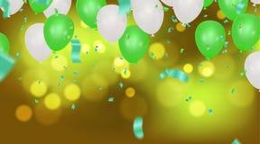 Abstrakcjonistyczny tło z jaśnienie zieleni bielu balonami Urodziny, ilustracji