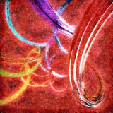 Abstrakcjonistyczny tło z kolorowymi falistymi kręconymi faborkami Zdjęcie Royalty Free