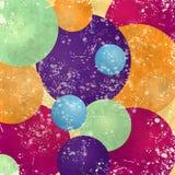 Abstrakcjonistyczny tło z kolorowymi okręgami i rocznik teksturą Fotografia Stock