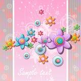 Abstrakcjonistyczny tło z kwiatami i guzikami Zdjęcie Royalty Free