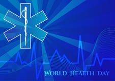 Abstrakcjonistyczny tło z medycznymi symbolami Światowych zdrowie dzień Gwiazda życie royalty ilustracja