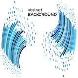Abstrakcjonistyczny tło z niebieskimi liniami i latanie kawałkami Obrazy Royalty Free