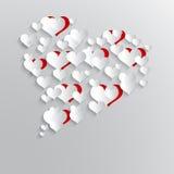 Abstrakcjonistyczny tło z papierowymi sercami Zdjęcie Stock