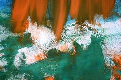 Abstrakcjonistyczny tło z pomarańczowymi błękitnej zieleni bielu uderzeniami Obrazy Royalty Free