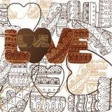 Abstrakcjonistyczny tło z słowo miłością ilustracja wektor