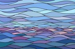 Abstrakcjonistyczny tło z stylizowaną fala i niebem royalty ilustracja