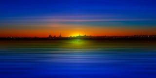 Abstrakcjonistyczny tło z sylwetką miasto i niebieskie niebo Obraz Stock