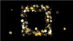 Abstrakcjonistyczny tło z Wiele Przypadkowymi Spada Złotymi gwiazda confetti fotografia royalty free