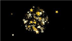 Abstrakcjonistyczny tło z Wiele Przypadkowymi Spada Złotymi gwiazda confetti fotografia stock