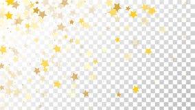 Abstrakcjonistyczny tło z Wiele Przypadkowymi Spada Złotymi gwiazda confetti na Przejrzystym tle tła sztandaru ptaszyn clothespin Obrazy Stock