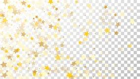 Abstrakcjonistyczny tło z Wiele Przypadkowymi Spada Złotymi gwiazda confetti na Przejrzystym tle tła sztandaru ptaszyn clothespin Obraz Stock