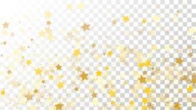 Abstrakcjonistyczny tło z Wiele Przypadkowymi Spada Złotymi gwiazda confetti na Przejrzystym tle tła sztandaru ptaszyn clothespin Zdjęcie Royalty Free