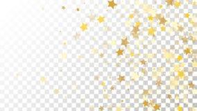 Abstrakcjonistyczny tło z Wiele Przypadkowymi Spada Złotymi gwiazda confetti na Przejrzystym tle tła sztandaru ptaszyn clothespin Fotografia Stock