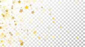 Abstrakcjonistyczny tło z Wiele Przypadkowymi Spada Złotymi gwiazda confetti na Przejrzystym tle tła sztandaru ptaszyn clothespin Obrazy Royalty Free