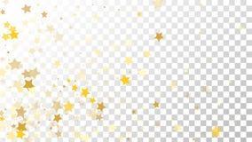 Abstrakcjonistyczny tło z Wiele Przypadkowymi Spada Złotymi gwiazda confetti na Przejrzystym tle tła sztandaru ptaszyn clothespin Zdjęcie Stock