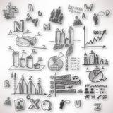 Abstrakcjonistyczny tło z zamazanymi doodles i nakreśleniami Zdjęcia Stock