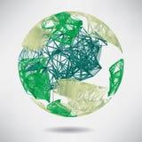 Abstrakcjonistyczny tło z zieloną sferą na temacie cyfrowym ilustracja wektor