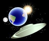 Abstrakcjonistyczny tło z ziemią, księżyc i słońcem, EPS10 wektorowa ilustracja Zdjęcia Royalty Free