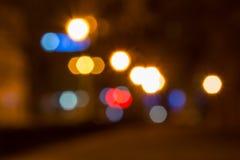Abstrakcjonistyczny tło zamazani światła z bokeh skutkiem Zdjęcia Stock
