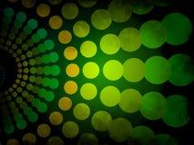 Abstrakcjonistyczny tło - zieleni i koloru żółtego grunge z okręgu wzorem Obraz Stock