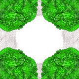 Abstrakcjonistyczny tło. Doodle zieleni rama. Obraz Royalty Free