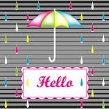 Abstrakcjonistyczny tło z deszczem i parasolem Obrazy Royalty Free