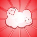 Abstrakcjonistyczny tło z sercami i chmurami Obraz Stock