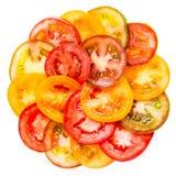 Abstrakcjonistyczny tło Zdrowy naturalny karmowy kolorowy pomidor Zdjęcia Stock