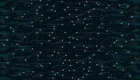 Abstrakcjonistyczny technologiczny jaskrawy - zielone liny i kropki na czarnym tle royalty ilustracja