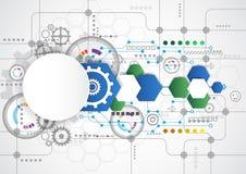 Abstrakcjonistyczny technologiczny tło z różnorodnymi technologicznymi elementami ilustracyjny wektor Zdjęcie Stock