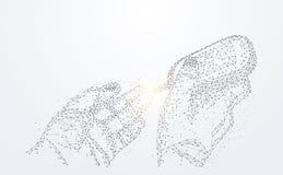 Abstrakcjonistyczny technologii linii trójbok i punkt niska poli- ręka sprawdzamy ilustracja wektor