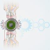Abstrakcjonistyczny technologii tło z procesoru układem scalonym ilustracja wektor