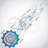 Abstrakcjonistyczny technologii tło z różnorodnymi technologicznymi elementami ilustracja wektor