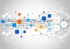 Abstrakcjonistyczny technologii tło z różnorodnymi technologicznymi elementami ilustracji