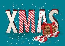 Abstrakcjonistyczny teksta XMAS z ciastkami i cukierek trzcinami, wakacyjny temat, ilustracja Obrazy Stock