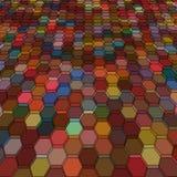 Abstrakcjonistyczny tło z kolorowymi hex wielobokami Zdjęcia Royalty Free