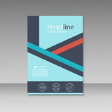 Abstrakcjonistyczny trójbok linii broszurki pokrywy projekt A4 rozmiaru szablon Zdjęcia Stock