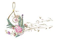 Abstrakcjonistyczny treble clef dekorujący z lata i wiosny kwiatami ilustracja wektor