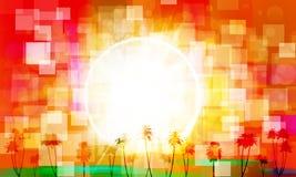 Abstrakcjonistyczny tropikalny wschód słońca ilustracji