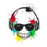 Abstrakcjonistyczny uśmiechnięty charakter słucha muzykę ilustracji