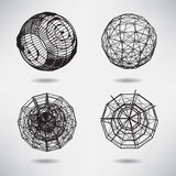 Abstrakcjonistyczny ustalony tło z kropkami i liniami na temacie cyfrowym ilustracja wektor