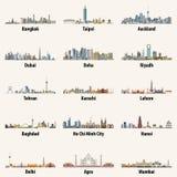 Abstrakcjonistyczny wektor odizolowywał ilustracje azjatykcie miasto linie horyzontu royalty ilustracja