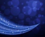 Abstrakcjonistyczny wektorowy błękitny pył błyskotliwości gwiazdy fala tło ilustracja wektor