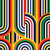 Abstrakcjonistyczny wektorowy bezszwowy op sztuki wzór Kolorowy dyskoteka ornament ilustracja wektor