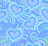 Abstrakcjonistyczny wektorowy bezszwowy wzór z błękitnymi ornamentacyjnymi sercami Zdjęcie Royalty Free