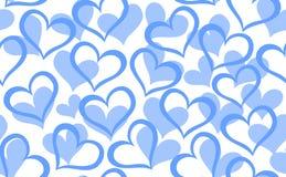 Abstrakcjonistyczny wektorowy bezszwowy wzór z dekoracyjnymi błękitnymi sercami ilustracja wektor